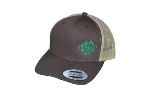 Brown GWP Hat Green Logo