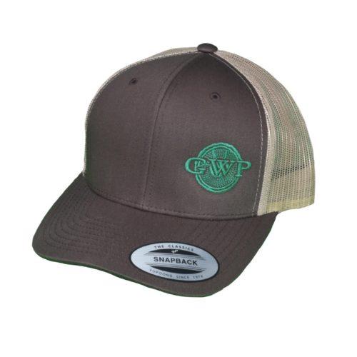 Brown GWP Hat Green Logo